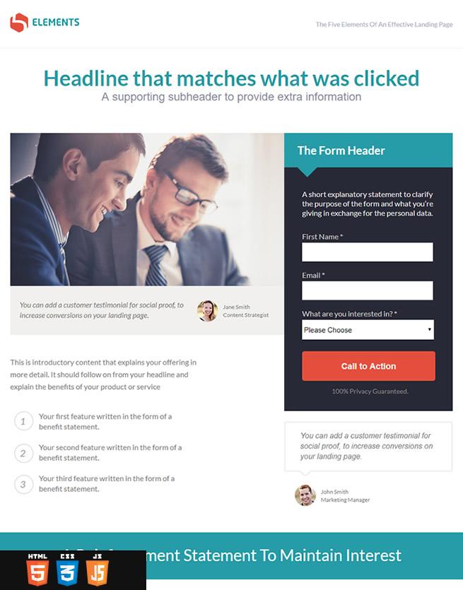 landing-page website design