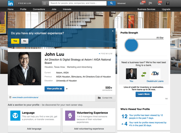 linkedin profile page design services