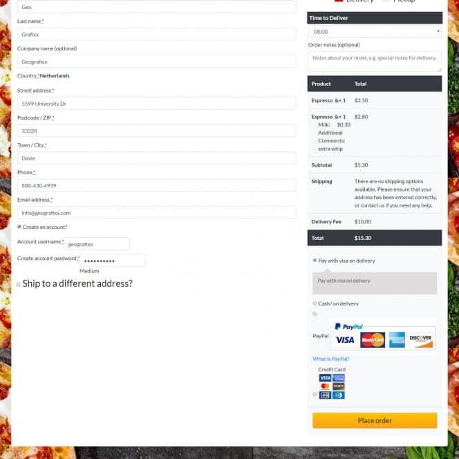 food ordering website design 2