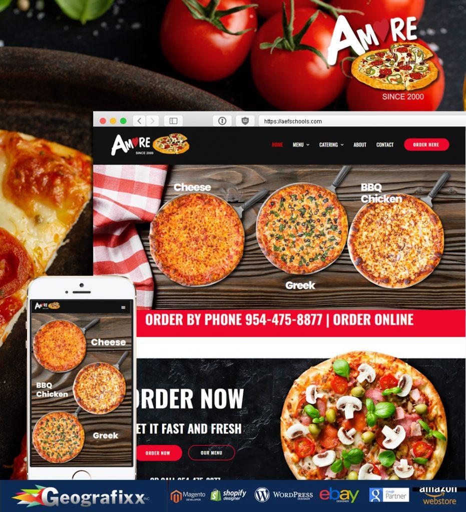 amore pizza restaurant web design